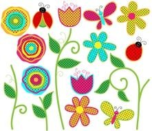 cartoon flowers and insects, Dot Border