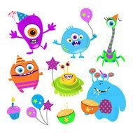 colorful funny monsters