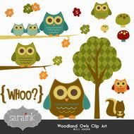 Clip art of Woodland owls