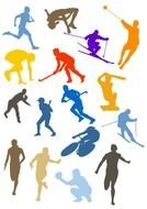 Different colorful sports clipart