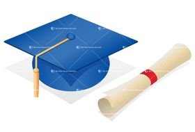 diploma next to graduation cap