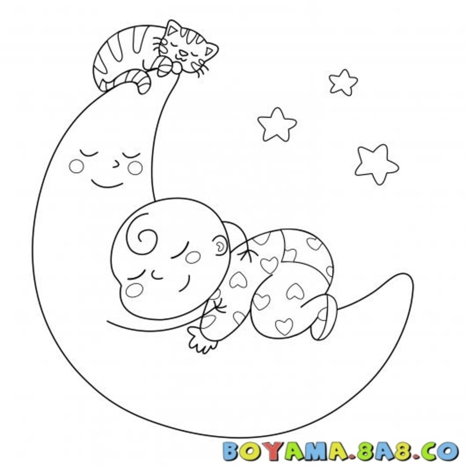 Bebe Ve The Moon Boyama Uyuyan Kedi Coloring Pages Free Image