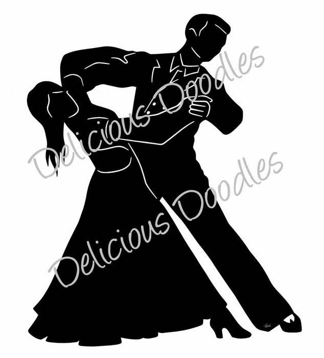 black silhouette of ballroom dancing couple