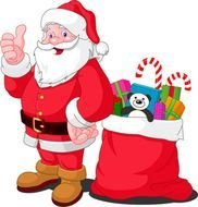 Santa Claus drawing near a bag with gifts
