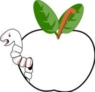 clipart of the worm in apple