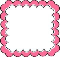 Pink Border Scalloped Frame drawing