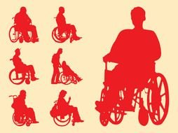 Disabled People Silhouettes drawing