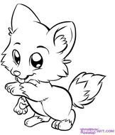 Draw Baby Wolf Cute Animals Coloring Black White Sketch Pencil Art clipart