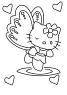 Black and white drawing of Hello Kitty clipart