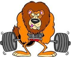 drawing of a lion with a barbell
