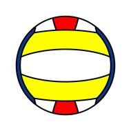 drawing of a ball with yellow-white lines