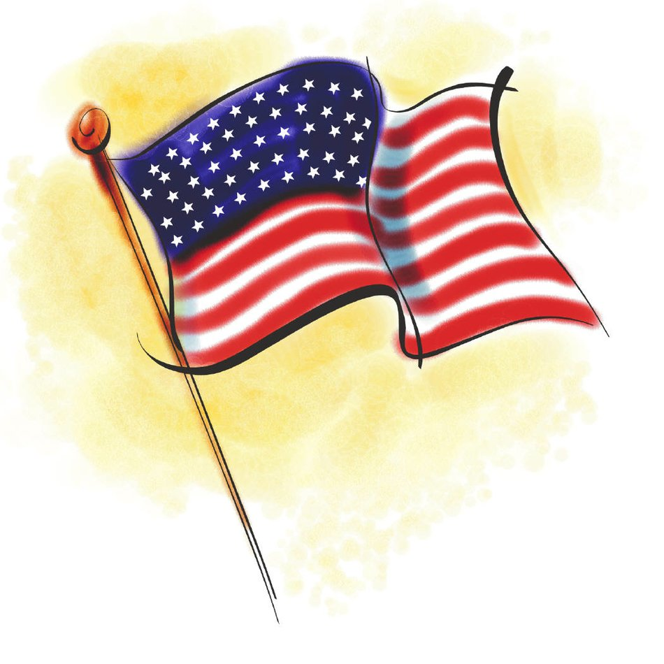 drawing of the american flag on a yellow background