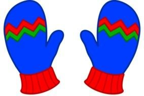 Clip art of the blue winter mittens
