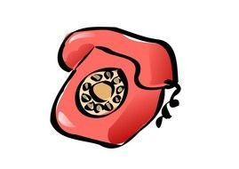 red retro telephone as a graphic image