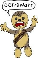 clipart of cartoon chewbakka character