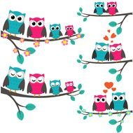 cartoon colorful owls on a branch