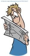 Clip Art of the man is reading a paper