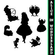 silhouettes of characters from alice in wonderland as a picture for clipart