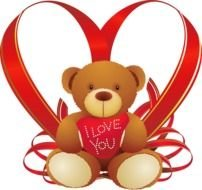 Love You, Teddy in front of heart form red ribbon