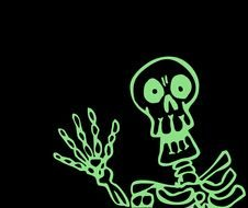 green skeleton on a black background for halloween