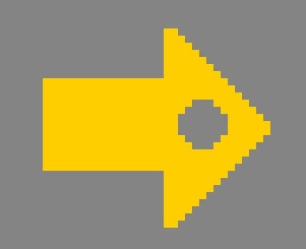 yellow arrow on the grey background