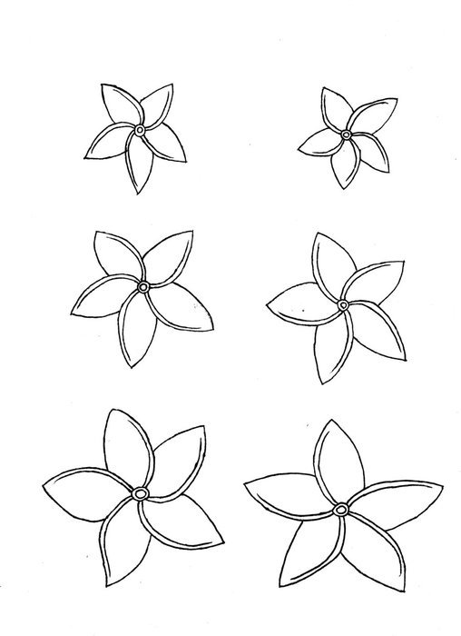Black and white drawing of the plumeria flowers clipart