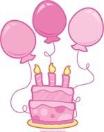 pink Birthday Cake with baloons drawing
