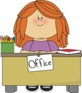 Desk in office clipart