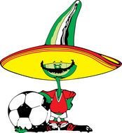 soccer player in sombrero with a ball