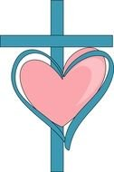 blue cross and pink heart, drawing