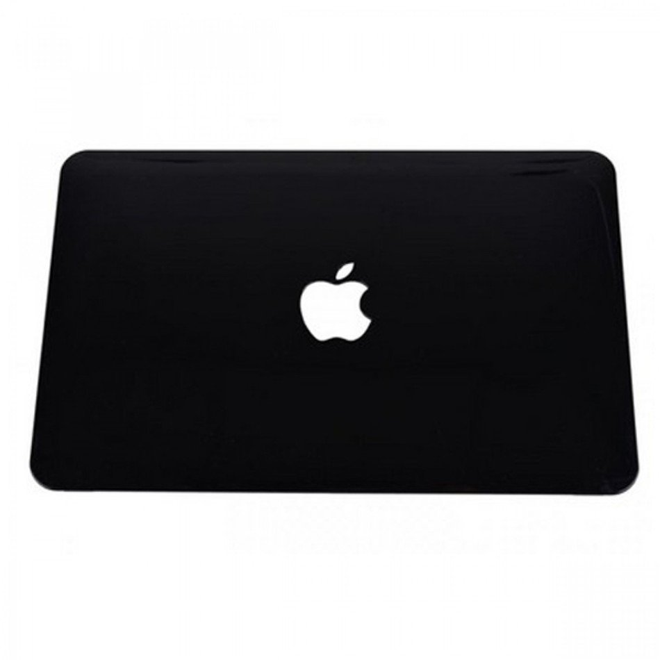 black laptop with Apple logo