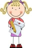 cartoon girl with pencil and notebook