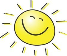 Clipart of the cartoon smiling sun