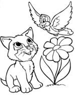 Black and white drawing of the cat,bird and flower clipart
