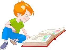 Clip Art of the boy is reading