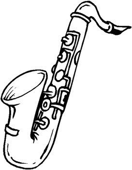 black and white picture of a saxophone