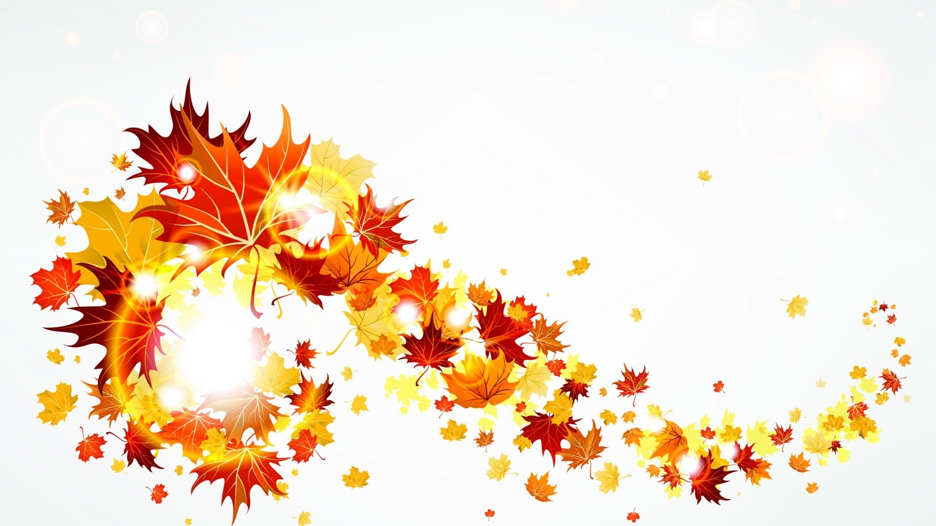 Swirling Autumn Leaves Drawing Free Image
