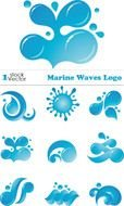 Clip art of Marine waves logo