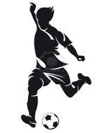 black silhouette of a soccer player running with the ball
