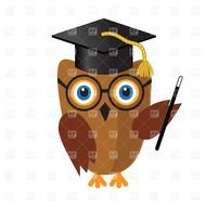 Clipart of smart owl