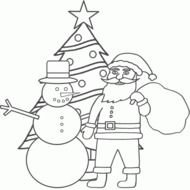 Snowman and santa at Christmas tree, Coloring Page