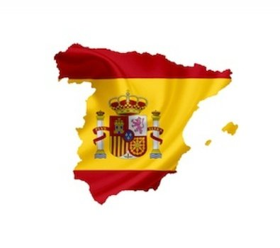 Spain flag on the map