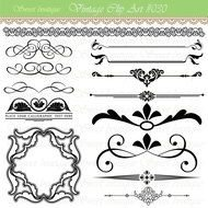 wedding patterns and frames on a white background