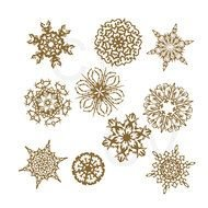 Clipart of Gold Snowflakes