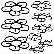 black and white flowers on a white background