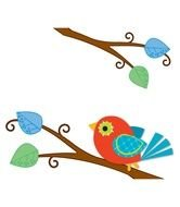 painted red bird with blue wings on a branch