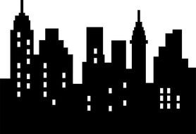 black and white city silhouette