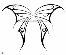 black butterfly drawing on a white background