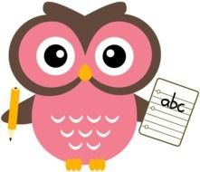 pink owl with a sheet of paper and a pencil