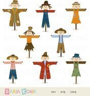 Scarecrows Set Autumn Fall Harvest Time Cl clipart